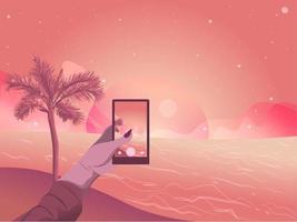 vrouwenhand die een foto van de zonsondergang op het strand neemt.