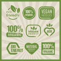 biologische groene verse symbolen set vector