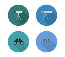 set van ronde telescoop iconen vector