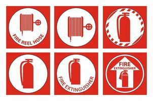set brandveiligheidsuitrusting etiketten vector