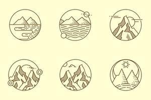 monolijn vintage berg set vector