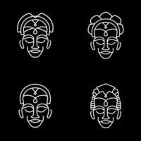 mono lijn afrika totemset vector
