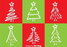 White Line Kerstboom Vectoren