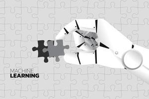 robot hand zet laatste puzzel om puzzel te voltooien