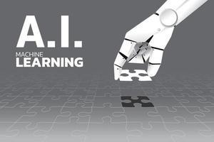 robot hand plaatsen laatste puzzelstukje van de puzzel