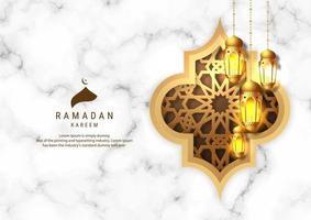 Ramadan Kareem-lantaarns op witte marmeren achtergrond