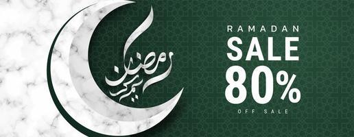 ramadan kareem wit marmeren halve maan verkoop banner vector