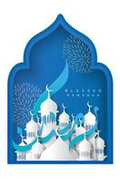 ramadan kareem kalligrafie blauw papier stijl ontwerp vector