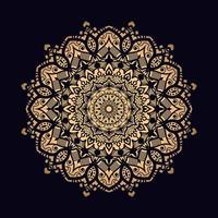 gouden sierlijke enkele mandala op zwart vector