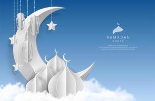 ramadan kareem papierkunst maan, ster, lantaarns en moskee vector