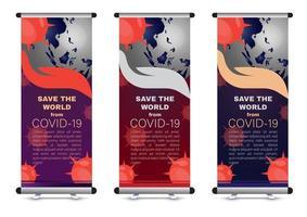 corona virus samenvouwen banner met globe vector
