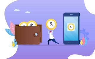 persoon die geld overmaakt van smartphone naar portemonnee. vector