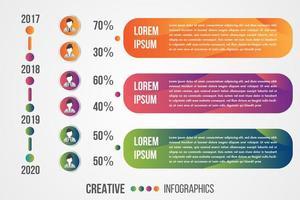 infographic tijdlijn met pictogrammen voor mannen en vrouwen vector