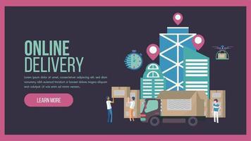 online bezorgservice bestemmingspagina met vrachtwagen vector