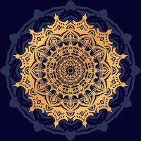 gouden mandala op donkerblauwe achtergrond vector