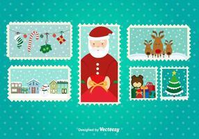 Kerst postzegels vector