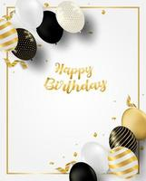 verticale verjaardagskaart met ballons en gouden frame