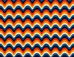 naadloze cuved retro jaren 70 patroon vector