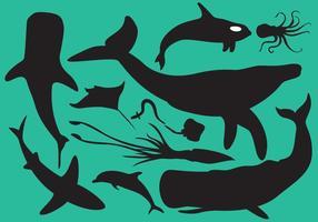 Zeedieren Silhouetten vector