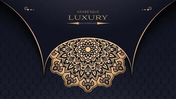 gouden mandala horizontaal ontwerp op zwart