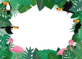 frame met tropische bladeren met toekans en flamingo's vector