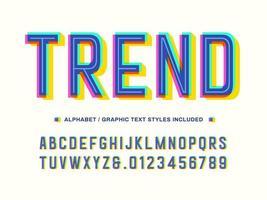 3D-trendy offset overdruk alfabet vector