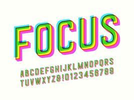 kleurrijke offsetdruk alfabet vector
