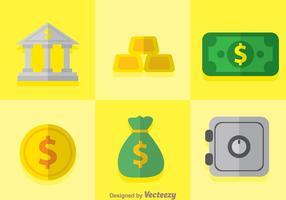 Platte bank iconen vector