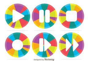 Kleurrijke Circle Media Player-knop