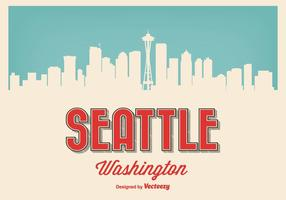 Seattle Washington Retro Illustratie