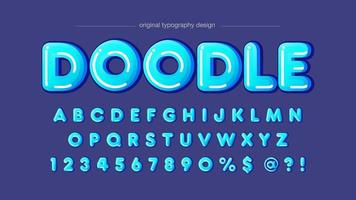 afgeronde blauwe zeepbel artistieke lettertype vector