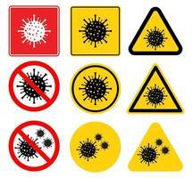 coronavirus covid-19 waarschuwingsbord ingesteld vector