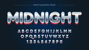 afgerond chroom en rood alfabet in hoofdletters