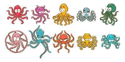 cartoon kleurrijke octopus set vector