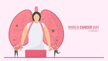 Werelddag voor kanker met persoon die de longen als rugzak draagt