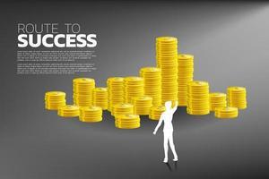 silhouet van zakenman wijzend op stapels munten