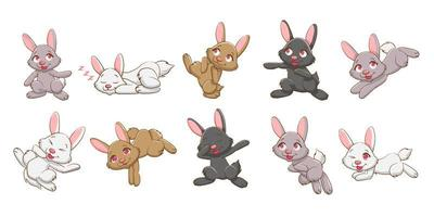 schattige cartoon konijntje set vector