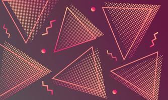 Memphis stijl driehoek halftoon achtergrond vector