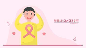 Werelddag voor kanker met lachende persoon vector