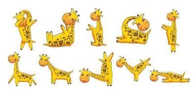 giraffe cartoon set vector