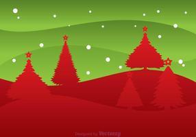 Kerstboom Silhouet Landschap vector
