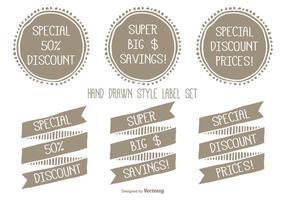 Handgetekende Style Discount Label Set