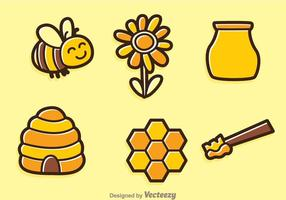 Lente Bee Vector Pictogrammen