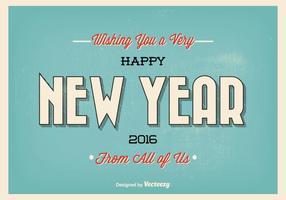 Vintage Typografische Nieuwjaar Groet Illustratie