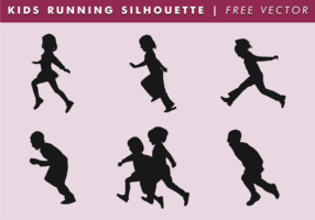 Kinderen rennen silhouet vrije vector