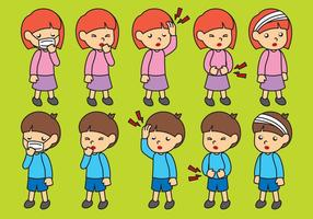 Cartoon Zieke Kindervectoren