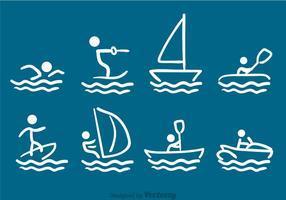 Watersporten Getekende Vectoren