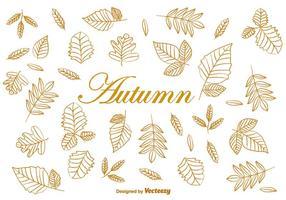Doodle Herfst Bruine Bladeren Vectoren