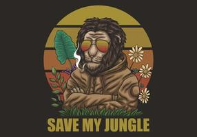 leeuw bewaar mijn jungle illustratie