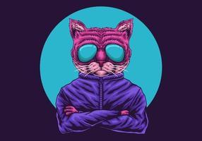 kat met een bril illustratie vector